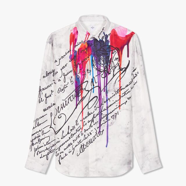 Oversize Scritto Printed Silk Shirt, INK SCRITTO CARMIN, hi-res