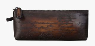 Okoume Engraved Calf Leather Pencil Case, TOBACCO BIS, hi-res