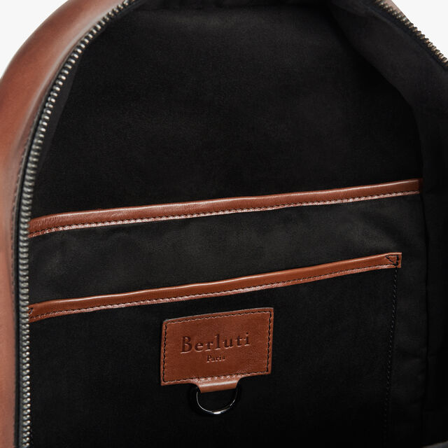 Volume Small Scritto Leather Backpack, MOGANO, hi-res