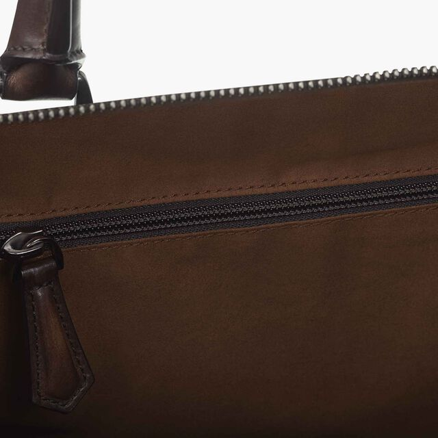 Jour-Off Medium Scritto Leather Travel Bag, TOBACCO BIS, hi-res