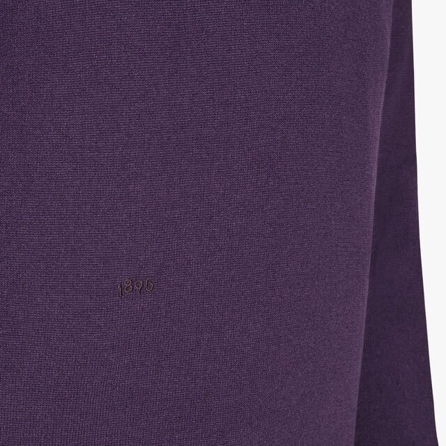 Regular Fit Cashmere Sweater With Embroidered Logo, MAGIC PURPLE, hi-res
