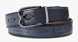 B Volute Reversible Engraved Calf Leather Belt - 35mm, TOBACCO BIS & NERO, hi-res