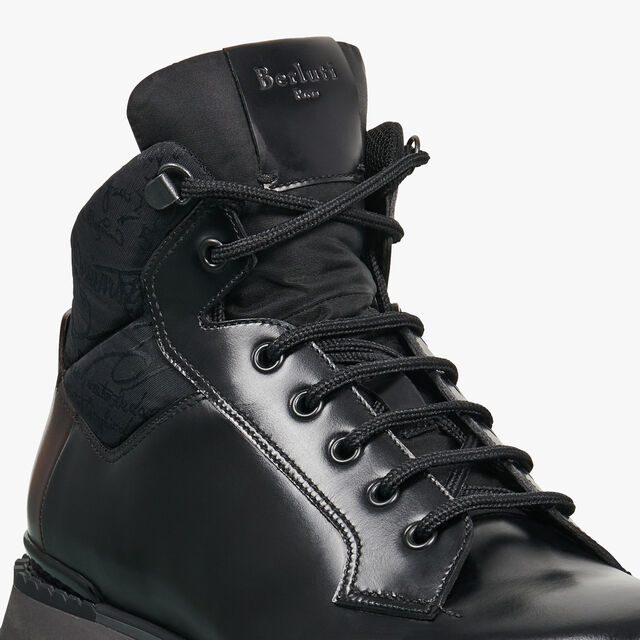 Fast Track Torino Glazed Calf Leather High-Top Sneaker, NERO, hi-res