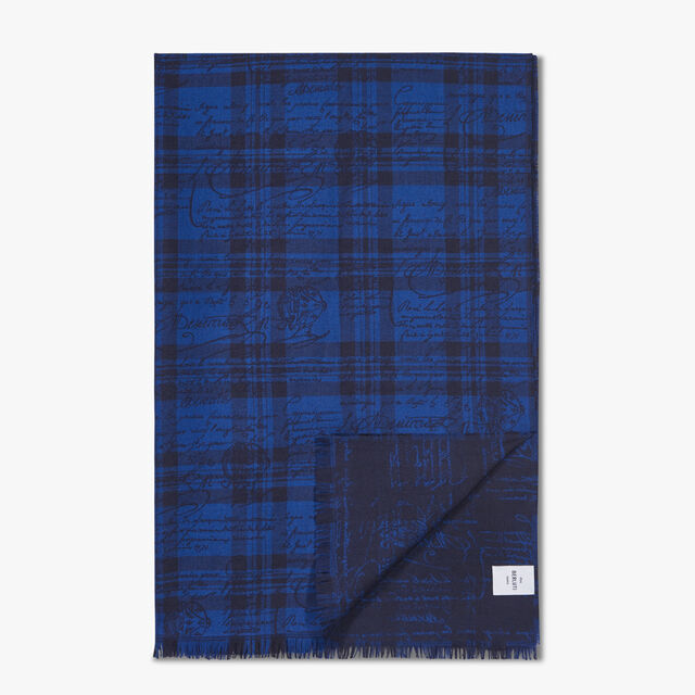 Wool And Silk Check Scritto Scarf, SPACE BLUE, hi-res