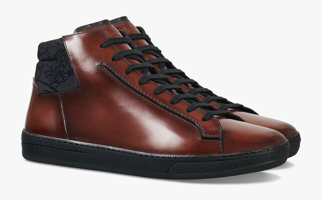 Outline Burano Calf Leather High-Top Sneaker, MOGANO, hi-res