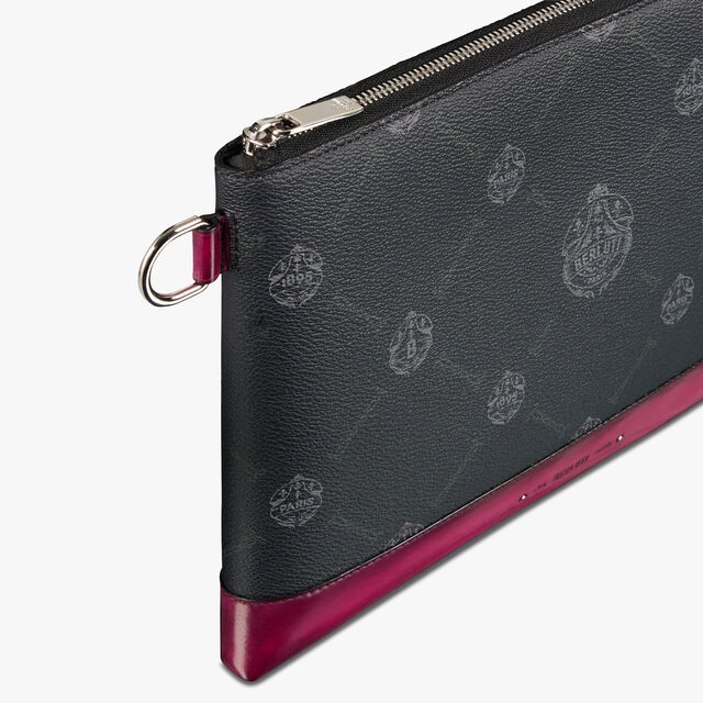 Nino Large Canvas and Leather Clutch , BLACK+ROSE GARDEN PINK, hi-res