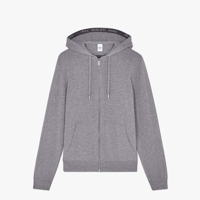 Regular Fit Embroidered Cashmere Zip-Up Hoodie Sweater, CASTLEROCK, hi-res