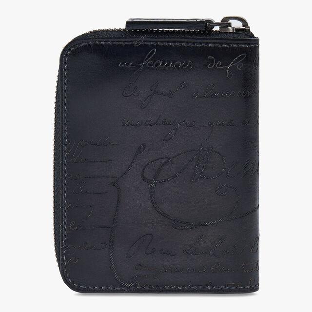Wapa Scritto Leather Zipped Coin Purse, NERO, hi-res