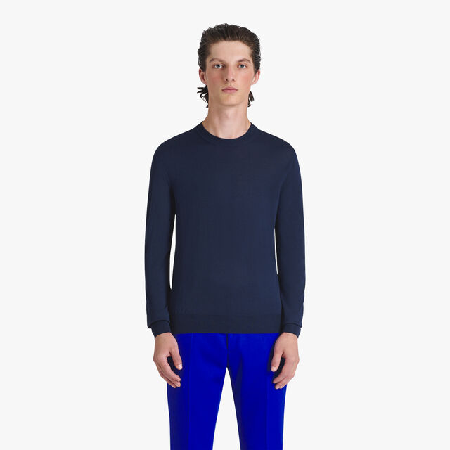 Light Wool Sweater With Logo, MIDNIGHT BLUE, hi-res