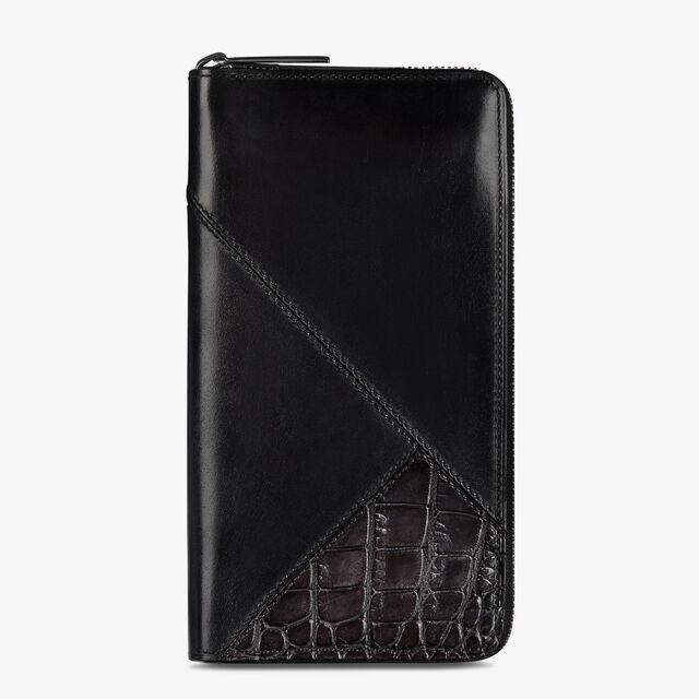 Itauba Patchwork Leather & Alligator Zipped Wallet, DEEP TDM & BLACK, hi-res