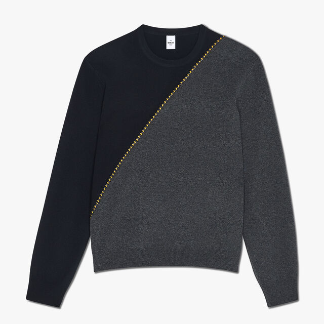 Regular Fit Long Sleeves Wool Sweater With Embroidered Leather