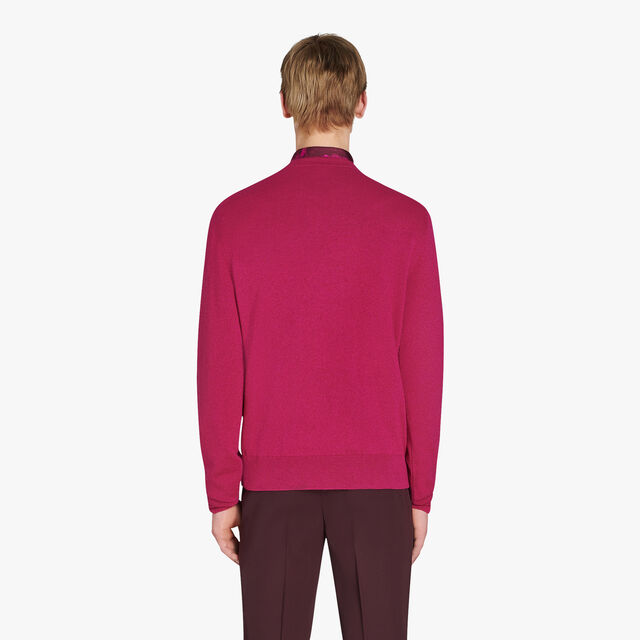 Long Sleeves Cashmere Sweater With Embroidered Logo, BERRY PINK, hi-res