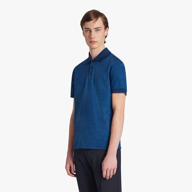 Jacquard Scritto Polo-Shirt, SPACE BLUE, hi-res
