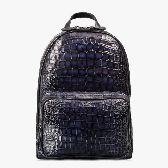 Time-Off Medium Alligator Leather Backpack, NERO BLU, hi-res