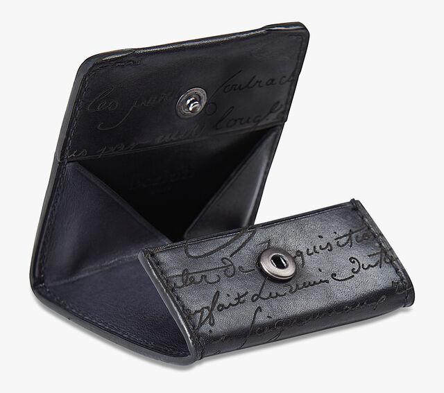 Origine Epure Scritto Leather Coin Purse, DEEP BLACK, hi-res