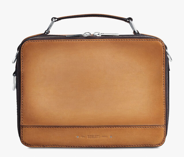 Take Off Small Leather Briefcase, CAMEL, hi-res