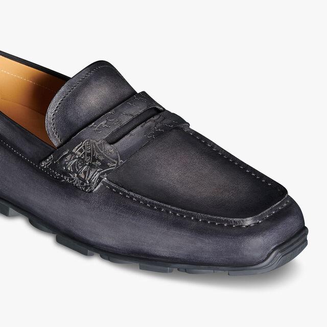 Saturnin Scritto图纹皮革驾车鞋, NERO GRIGIO, hi-res