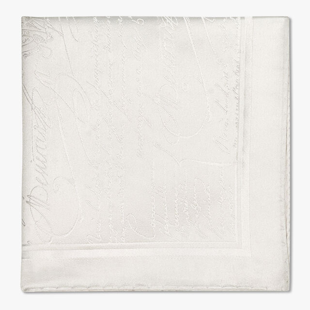 Evening Scritto Silk Pocket Square, BLANC OPTIQUE, hi-res