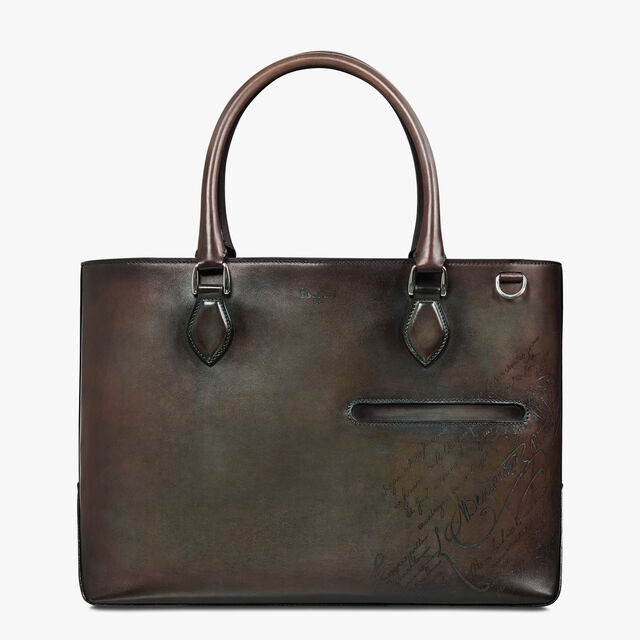 Toujours Scritto Leather Tote Bag, ICE BROWN, hi-res