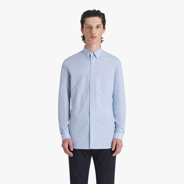 Formal Cotton Slim-Fit Shirt, ZENITH BLUE, hi-res