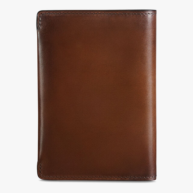 Escale Epure Scritto Leather Passport Holder, MOGANO, hi-res