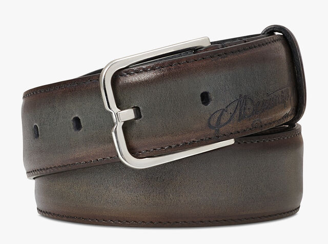 Essence Scritto Leather Belt - 32 mm, ICE BROWN, hi-res