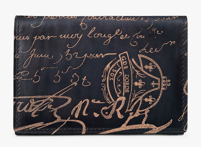 Imbuia Scritto Leather Card Holder, NERO GRIGIO + ROSE GOLD, hi-res