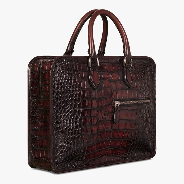 Un Jour Medium Alligator Leather Briefcase, BORDO, hi-res