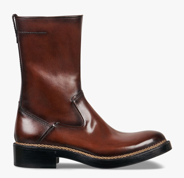 Biker Off The Road Calf Leather Boot, BRUN, hi-res