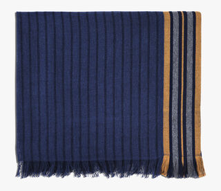 Striped Cotton Scarf, NAVY, hi-res