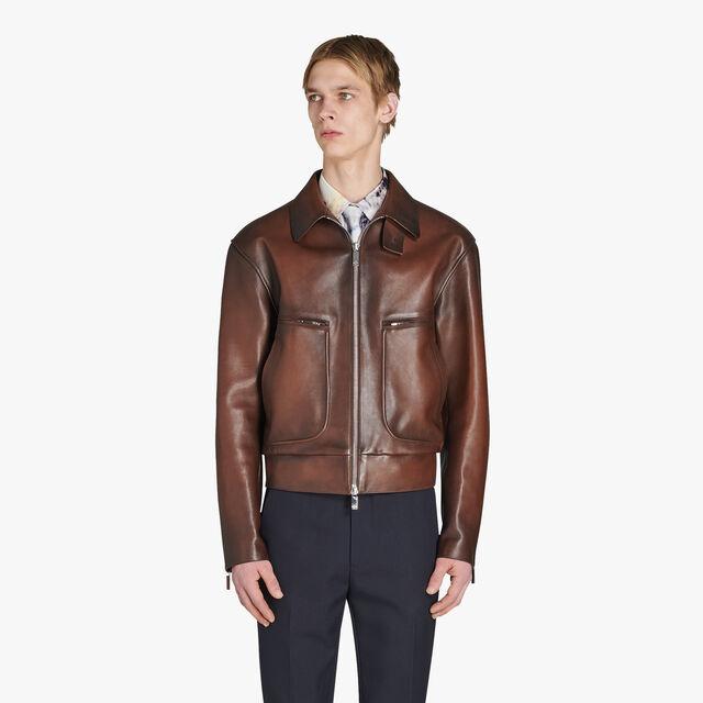 Patina Leather Blouson, BRUN, hi-res