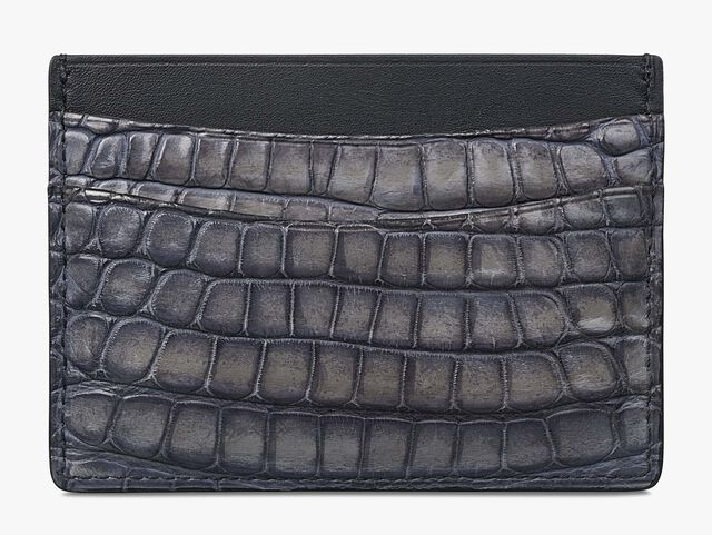 Bambou Alligator Leather Card Holder, LIGHT GREY, hi-res