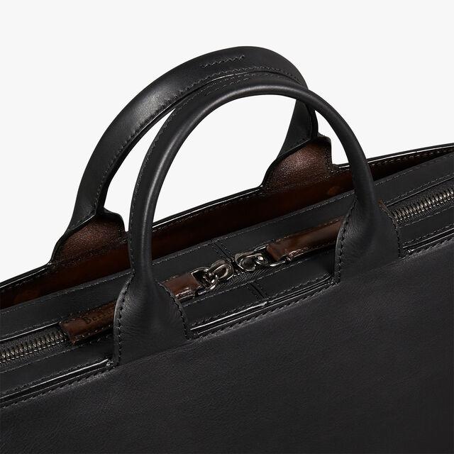 Profil 3 Medium Scritto Calf Leather Briefcase, NERO, hi-res