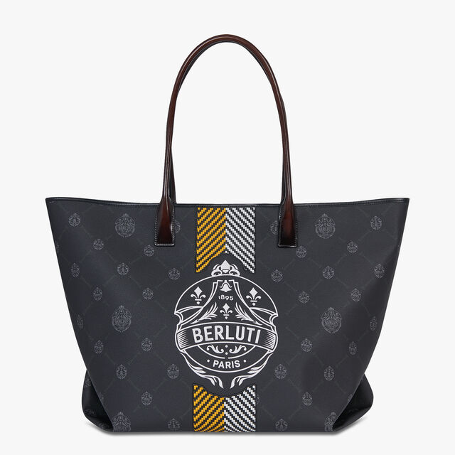 Whopping Canvas and Leather Tote Bag, BLACK  + YELLOW, hi-res