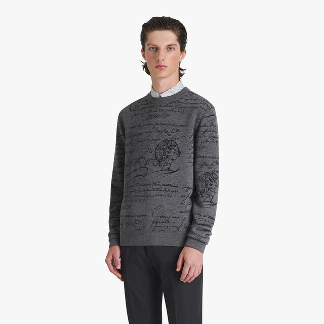 Wool Jacquard Scritto Sweater, PEWTER GREY, hi-res