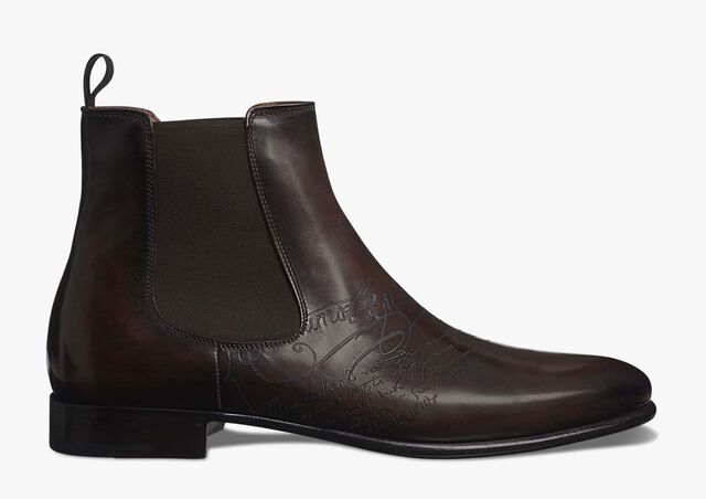 Cursive Galet Scritto Leather Boot, EBANO, hi-res