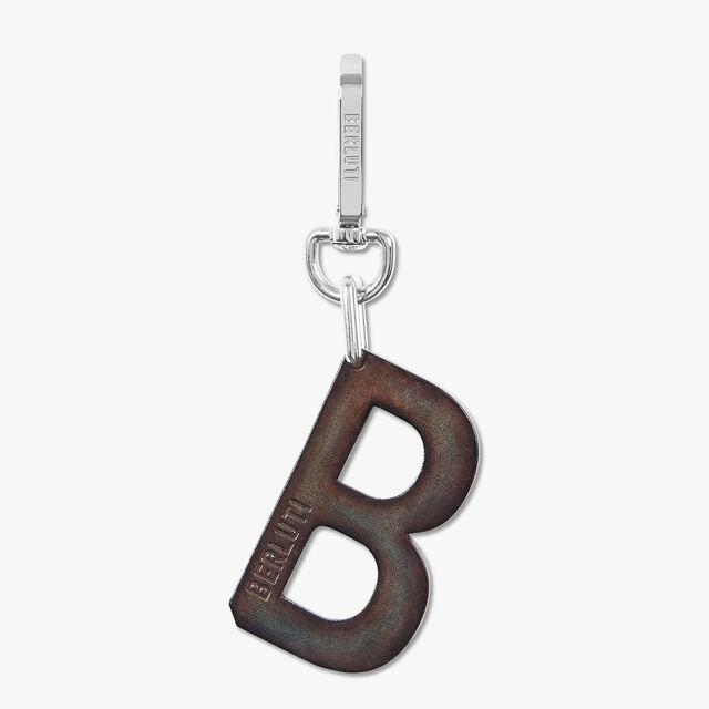 B Logo Leather Key Ring, ICE BROWN, hi-res