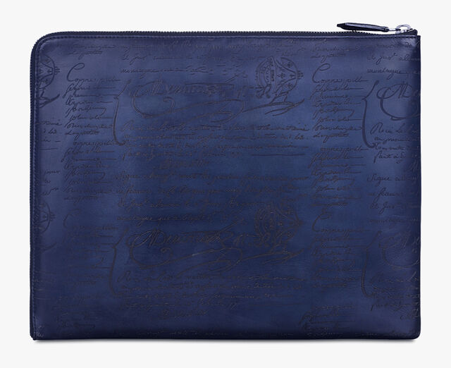Au Grand Jour Scritto Leather Clutch, INDIGO DENIM, hi-res