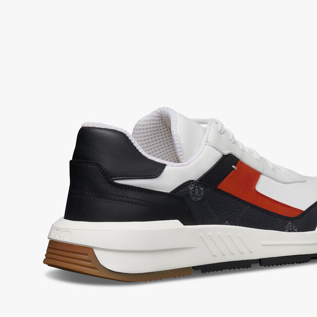 Pulse Canvas and Leather Sneaker, BLACK + WHITE + ORANGE, hi-res