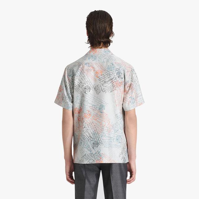 Printed Silk Oversize Shirt, SCRITTO ICE GREY, hi-res