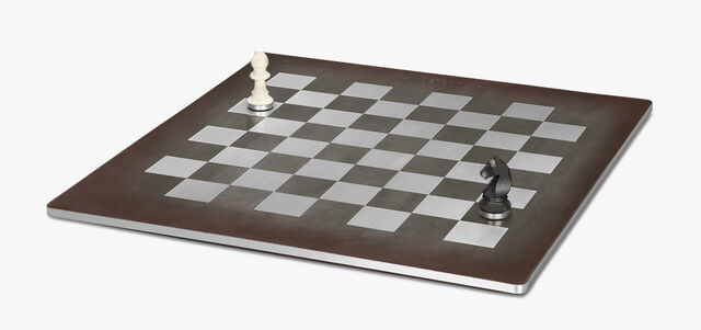 Chess Leather and Metal Game, ICE BROWN, hi-res