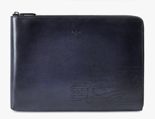 Nino Large Leather Clutch, NERO ANTRACITE, hi-res