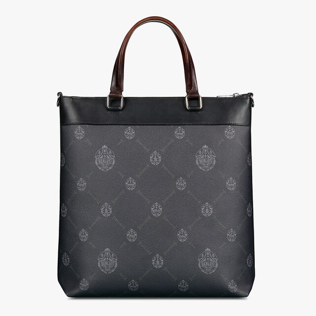 Passenger Vertical Canvas And Leather Tote Bag, BLACK + TDM INTENSO, hi-res