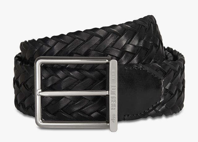 Step Braided Calf 35 MM Belt, NERO, hi-res