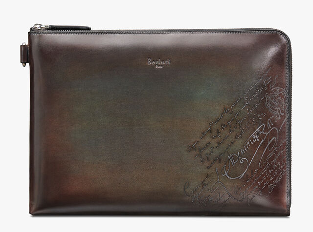 Nino Large Scritto Leather Clutch, ICE BROWN, hi-res