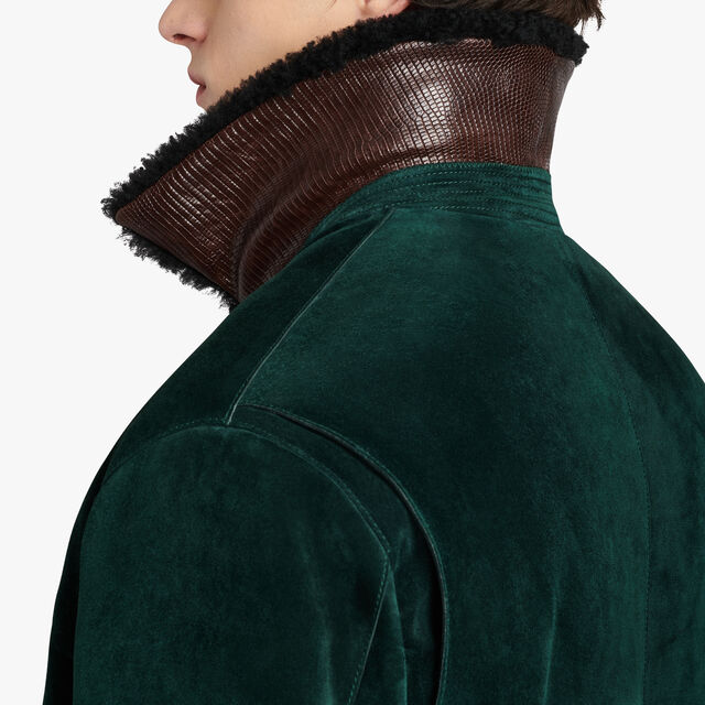 Leather Military Flight Jacket With Shearling Details, BRITISH GREEN, hi-res