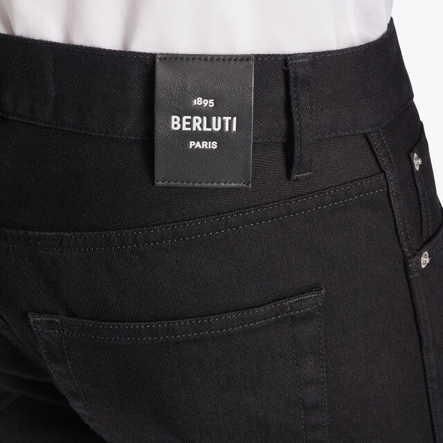 Black Denim Trousers With Scritto, NOIR, hi-res