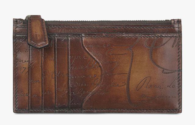 Koa Maxi Scritto Leather Zipped Card Holder, TOBACCO BIS, hi-res
