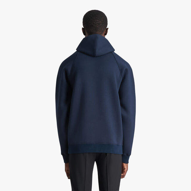 Hoodie With Bonded Leather Crest , ULTRAMARINE  / LEAD, hi-res