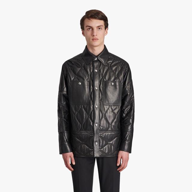Padded Leather Jacket, NOIR, hi-res